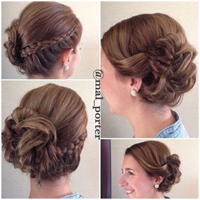 Braid with Side Curly Bun