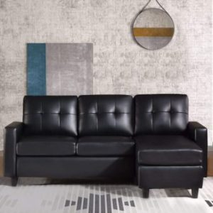 HONBAY Convertible Sectional Leather Sofa