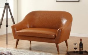 Divano Roma Mid Century Bonded Leather Sofa